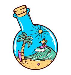 Beach and bottle vector