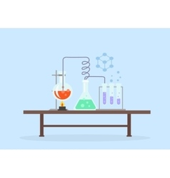 Biology Laboratory Workspace and Science Equipment vector image vector image