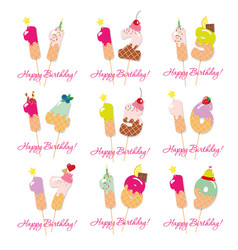 Birthday cards set festive sweet numbers from 11 vector
