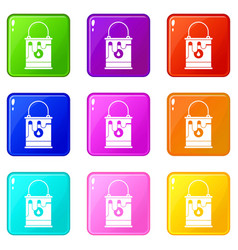 Bucket with paint icons 9 set vector
