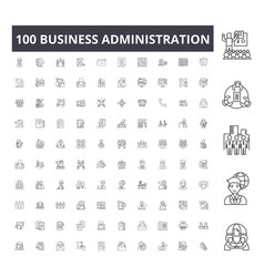 Business administration line icons signs vector