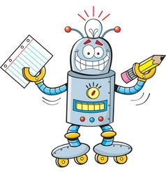 Cartoon robot student vector