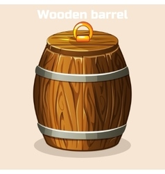 cartoon wooden barrel closed game elements vector image