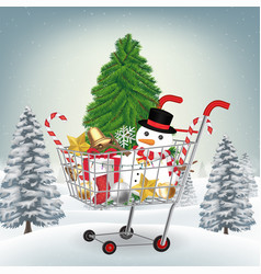 christmas decorative shopping cart on winter hill vector image