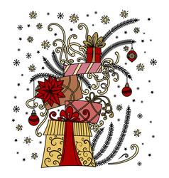 christmas greeting card pile holiday presents vector image