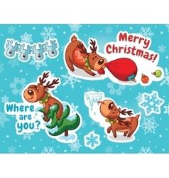 Christmas sticker set Reindeer Santa vector image