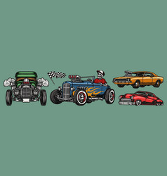 classic custom cars vintage colorful concept vector image