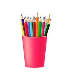 colored pencils in a glass vector image