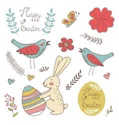 Colorful Easter related elements collection vector