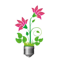 Colorful silhouette of light bulb base with plant vector