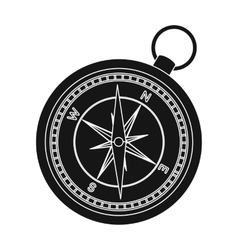 Compass icon in black style isolated on white vector image