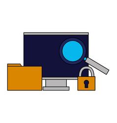 computer monitor folder security analysis vector image