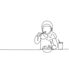 Continuous one line drawing arabian girl having vector