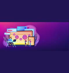 Cross platform bug founding concept banner header vector