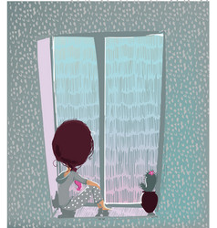 Cute girl with rainy window vector