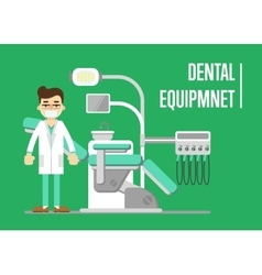 Dental equipment banner with dentist vector