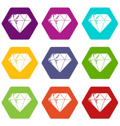 diamond icons set 9 vector image