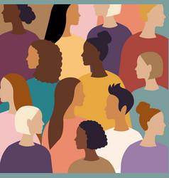 Different women female diverse faces poster vector