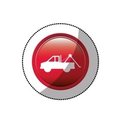 dotted sticker with tow truck icon vector image