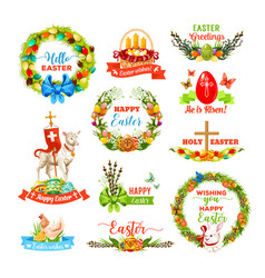 easter icon set with cartoon holiday symbols vector image