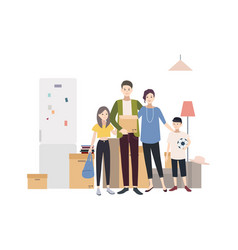 Family moving into a new house with things vector