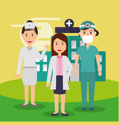 female doctor nurse and surgeon staff medical team vector image