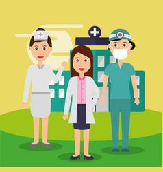 female doctor nurse and surgeon staff medical team vector image