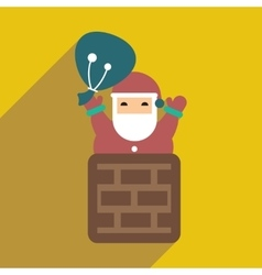 Flat icon with long shadow Santa Claus in chimney vector