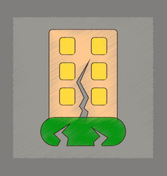 Flat shading style icon earthquake house vector