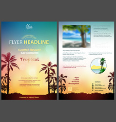 Flyer template with sunny tropical background vector