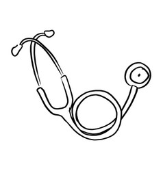 freehand stethoscope sketch hand vector image