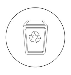 Garbage can icon in outline style isolated on vector
