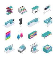 Garment Factory Isometric Icon Set vector image