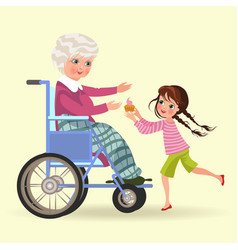 girl takes care of grandmother granddaughter vector image