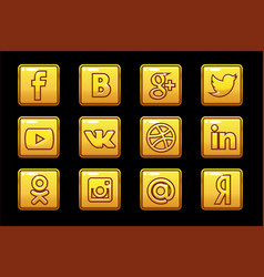 Golden icons social media square buttons set vector