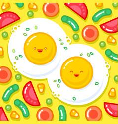 good morning breakfast kawaii vector image