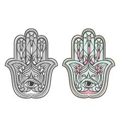 Hamsa Fatima hand amulet symbol set vector image