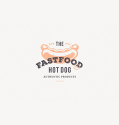 hand drawn logo hot dog silhouette and modern vector image