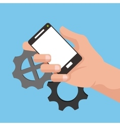 Hand holding cellphone with gears in the vector