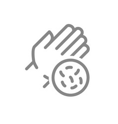 Hand with bacteria line icon hygiene human vector