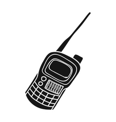 Handheld transceiver icon in black style isolated vector image