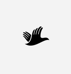 Hands bird logo design fingers wings dove freedom vector