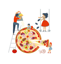 Happy family cooking together a pizza vector