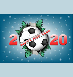 Happy new year 2020 and soccer ball vector