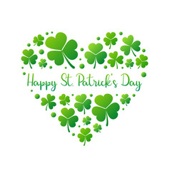Happy st patricks day heart on white vector
