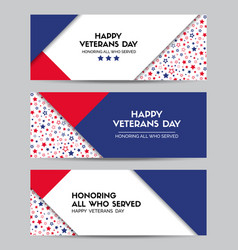 happy veterans day set of headers vector image