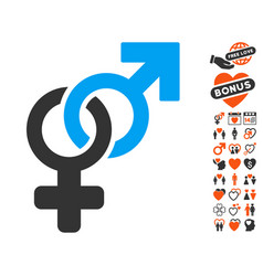 Heterosexual symbol icon with dating bonus vector