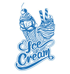 ice cream logo calligraphic text hand drawn vector image