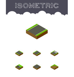 isometric way set of unilateral driveway footer vector image