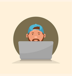 It guy sitting with laptop front view vector